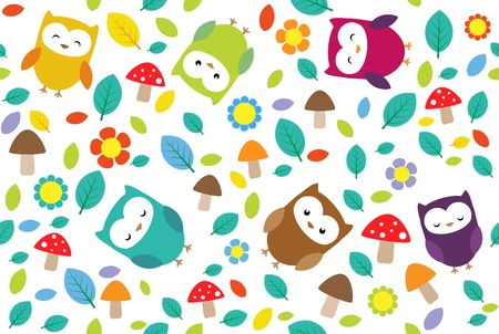 Bright background with owls, leafs, mushrooms and flowers. Seamless pattern.