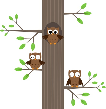 Tree owls sitting on a tree with a hole Vector