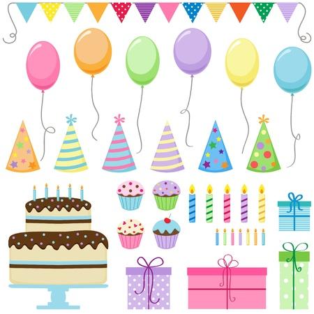 bougie coeur: Ensemble d'éléments de fête d'anniversaire Illustration