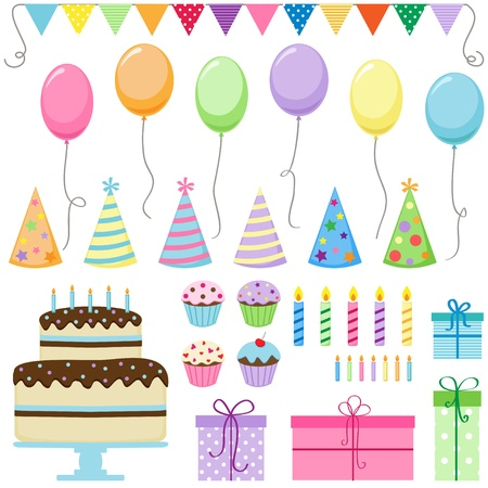 Set of birthday party elements Stock Vector - 10329550