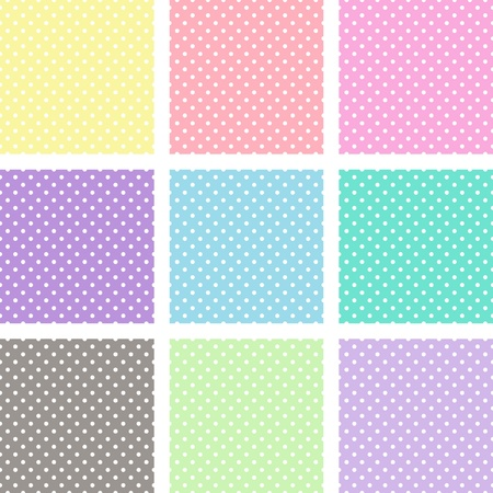 White polka dots on different pastel backgrounds. It is repeated patterns that fill any shape seamlessly. Vector
