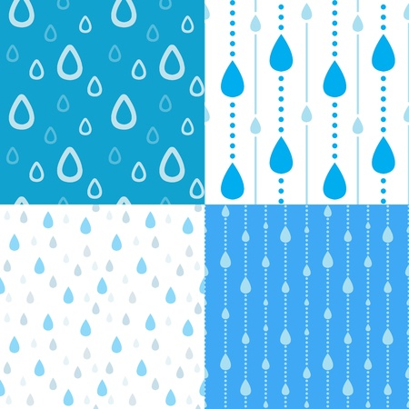 raining background: Four seamless rain background