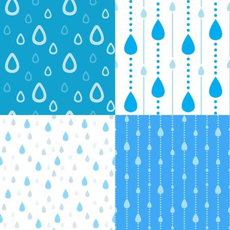 regentropfen: Vier nahtlose Regen Hintergrund Illustration