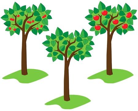 Set of tree green trees