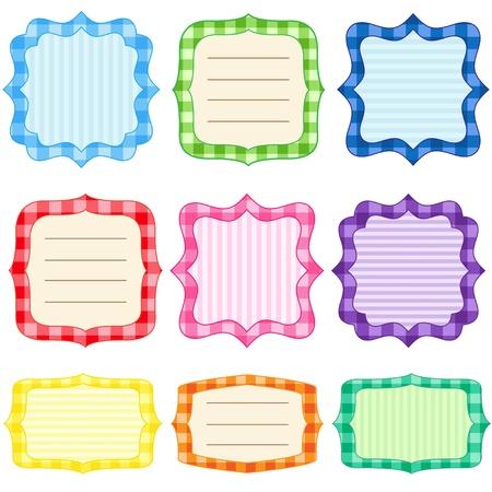 Set of 9 bright  frames with gingham pattern Illustration