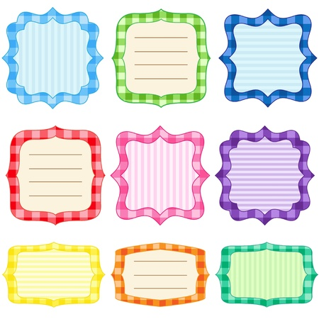 checkered label: Set of 9 bright  frames with gingham pattern Illustration