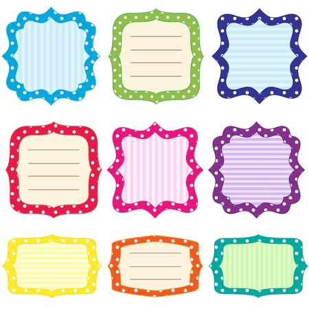 Set of 9 bright  frames with polka dots pattern Stock Illustratie
