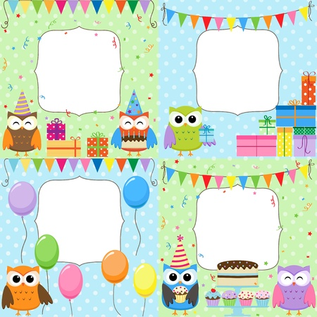 Set of vector birthday cards with cute owls. Vector