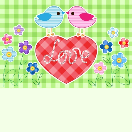 Card with couples of birds on red heart among flowers with place for text. Illustration