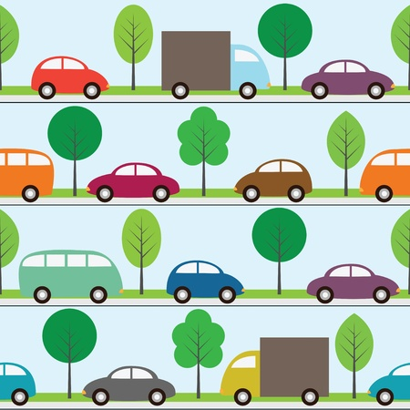 car road: Seamless background with cars Illustration