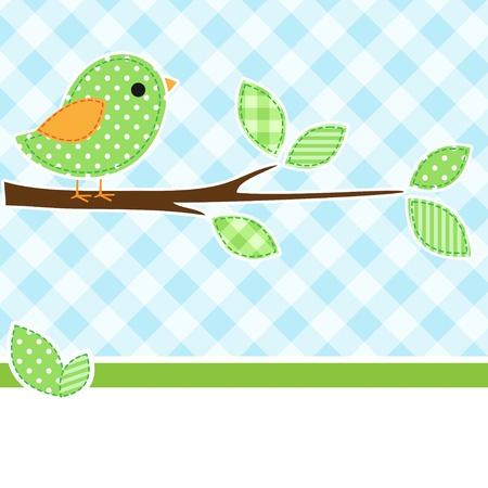 little bird: Tarjeta con p�jaro en la rama con fondo de textiles.
