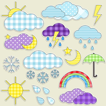 rainbow umbrella: Set of weather textile stikers Illustration