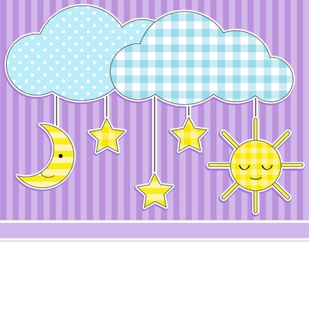 Card with clouds, moon, sun and stars on textile background Vector