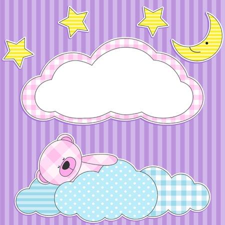 Cute card with sleeping pink teddy bear for girl. Vector