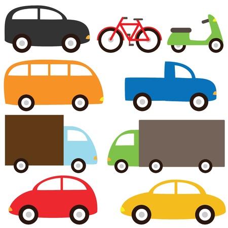 carritos de juguete: Conjunto de transporte - nueve dibujos animados veh�culos Vectores