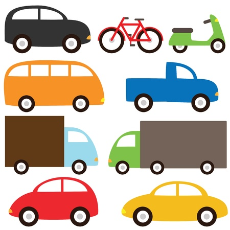 Transport set  - nine cartoon vehicles Vector