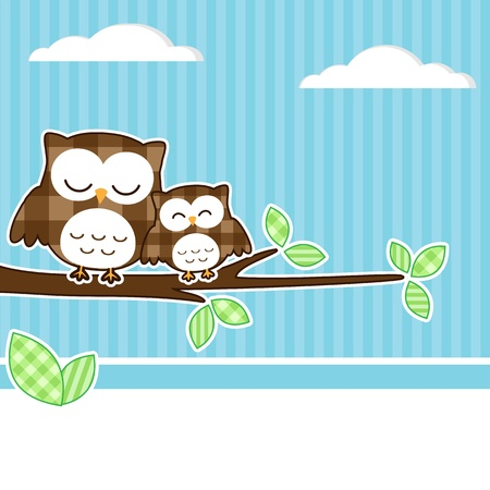 Card with two owls on branch with textile background. Vector