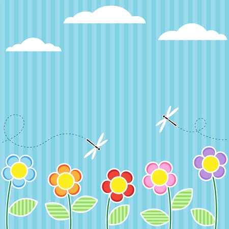 patchwork landscape: Background with flowers and flying dragonflies