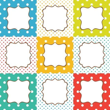 Set of 9 cute cards with polka dots pattern Illustration