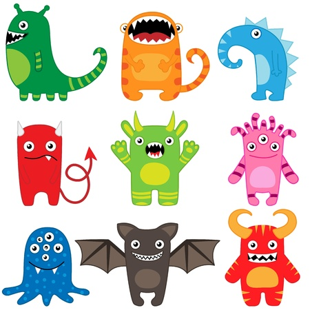 monsters: Set of different cute funny cartoon monsters