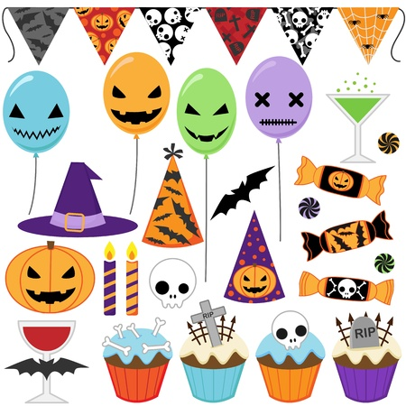 witch face: Set of Halloween party elements Illustration