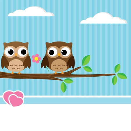 Background with couple of owls sitting on branch