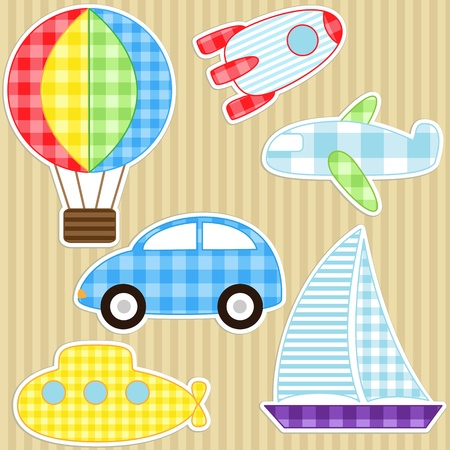 submarine: Set of cute vector colorful transport stickers