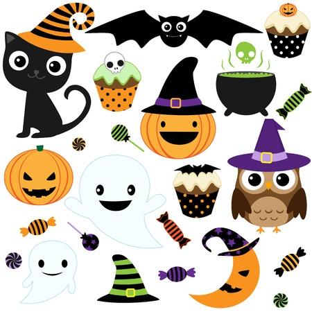 gato negro: Conjunto de elementos de Halloween vector lindo, objetos e iconos para su diseño