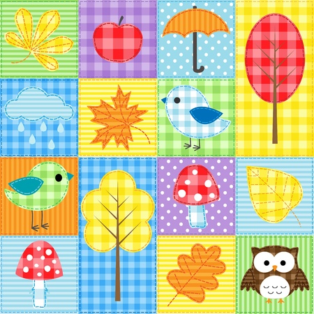 Autumn background with trees, leafs, mushrooms and birds Ilustração