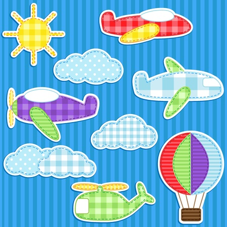 Set of cute colorful aircraft stickers Vector