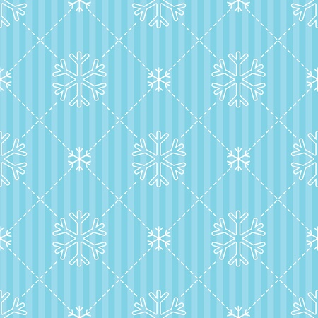 Blue winter backround with white snowflakes. Seamless background. Vector