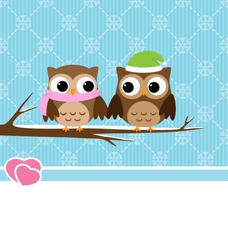 lechuzas: Fondo de invierno con par de b�hos sentado en la rama