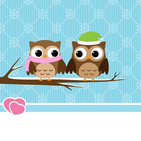 Winter background with couple of owls sitting on branch Ilustração