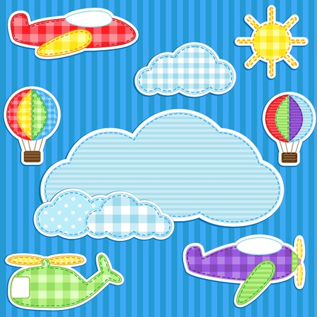 Blue background with cute plane, helicopter, aeroplane, balloons Stock Illustratie