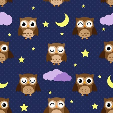 buonanotte: Gufi di notte con le stelle, le nuvole e la luna. Seamless. Vettoriali
