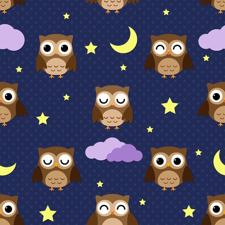 Owls at night with stars, clouds and moon. Seamless pattern. Vector