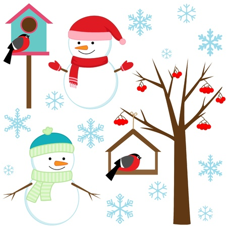 Snowmans, birds, tree, snowflakes and birdhouses - winter set. Vector