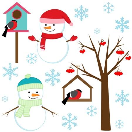 birds in tree: Snowmans, uccelli, alberi, fiocchi di neve e nicchie - set d'inverno.