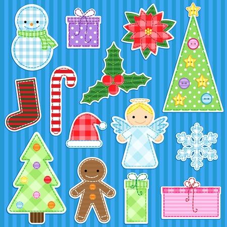 angel tree: Set of cute christmas stickers
