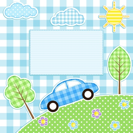 Cute car, flowers, trees, clouds and sun on blue background
