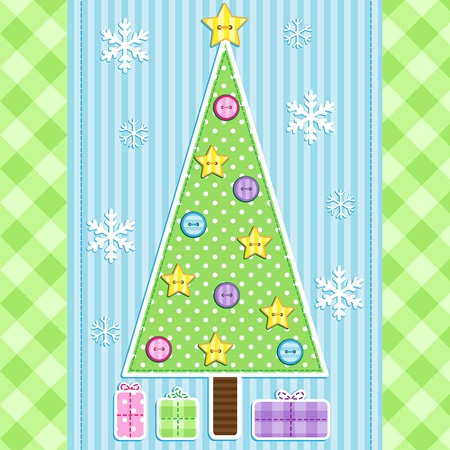 Holiday card with christmas tree, presents and snowflakes