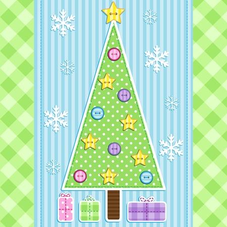 Holiday tarjeta con árbol de navidad, regalos y los copos de nieve