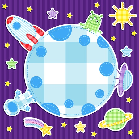 Space background with cute astronaut, alien, spacwships