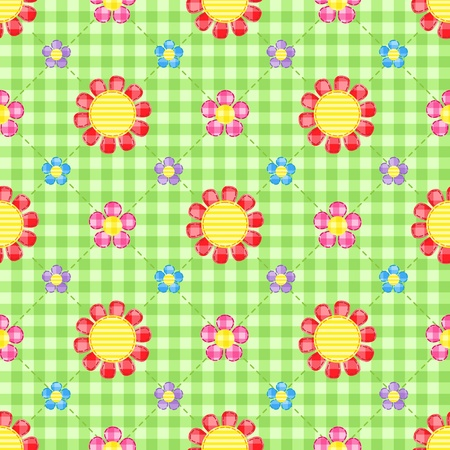 Stitch flowers on green gingham background. Seamless pattern. Vector