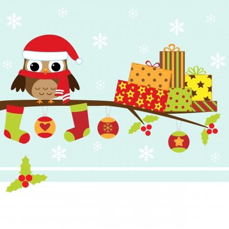white socks: Christmas card with cartoon owl
