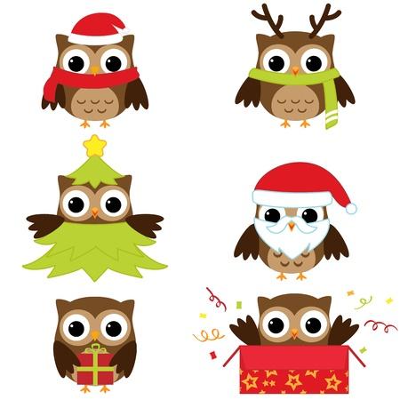 b�ho caricatura: Navidad y A�o Nuevo b�hos en trajes divertidos - conjunto de vectores