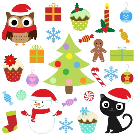 christmas tree set: Christmas vector cute elements set
