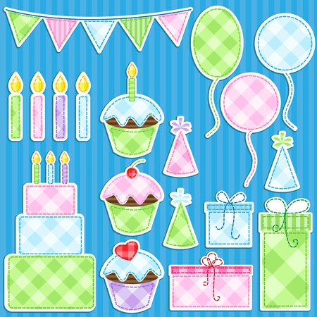 Birthday party vector elements set.