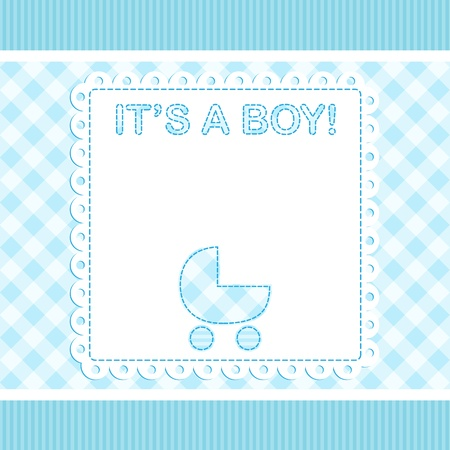 Baby boy vector arrival card with pram Vector