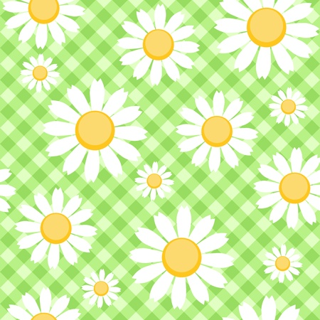 Chamomiles on green checked background Vector